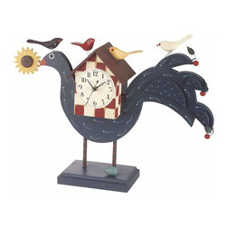 """Renovators Supply - Clocks Blue/Check Wood Peacock Clock 14"""" Tall 