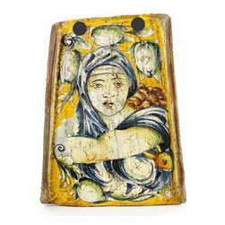 Artistica - Hand Made in Italy - MAJOLICA: Reclaimed Tuscan Roof Tile with Sibilla Delfica (Michelangelo) - MAJOLICA Collection: Reclaimed Tuscan farmhouse terracotta roof tiles, masterfully hand painted with renaissance era noblemen and noblewomen.
