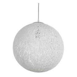 LexMod - Spool Chandelier in White - Spin together the right moments with the Spool modern pendant light. Inspired by the craft of a seamstress, Spin combines the traditional elements of weaving with a progressive infusion of light. Constructed of heat resistant cotton thread, Spool is a charming piece that presents the piercing persistence of light in a most magnificent way.