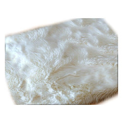 Fur Accents - Faux Fur Sheepskin Accent Rectangular Rug, Off White Shaggy Throw, 5x8 - Fine and Fancy Fur Accent Rug. Rich Shaggy Off White Faux Rectangle Sheepskin Area Carpet. Fancy Rectangle Shaped Pelt Design. Made from 100% Animal Free and Eco Friendly Fibers. Perfect for any room in the house. Try it in the Winter Lodge, Log Cabin or Family Great Room. Real Animal Fur has natural oils which can become magnets for dust and dirt. When washed the oil is removed but then the skin becomes dry, brittle and matted. Be Kind to Animals ALWAYS BUY FAUX ! Tastefully designed and fully lined with real Parchment Ultra Suede. Luxury, Quality and Unique Style for the discriminating designer / decorator.