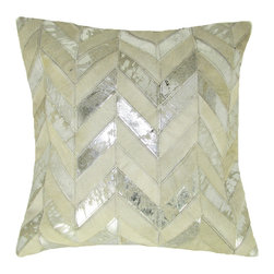 "Leather Herringbone Pillow, Ivory-Silver, 20"" X 20"" - Leather herringbone pillow."