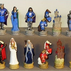 King Arthur's Court Painted Resin Chess Pieces - Standing on labeled faux-stone bases, the King Arthur's Court Painted Resin Chess Pieces take you deep into Arthurian legend. Each piece is cast in polyresin and hand-painted with great detail. They're weighted and felted for great handfeel and play that doesn't harm your chess board. Board sold separately.