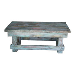 """Aqua Distressed Coffee Table, Aqua Distressed - This Rustic Coffee Table is made from solid wood and measures 42""""L x 22""""W x 17.5""""H. It has been stained, hand-painted and stained again to give it an original natural rustic look. It's primary color is aqua and has a few pops of coral and yellow to bring out the warmth. Remember each piece is made by hand so no two pieces will come out exactly alike."""