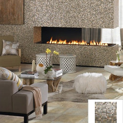 "Project Exhilaration - Turn the heat up around your fireplace with our beautiful ""City"" Glass Mosaic Collection."
