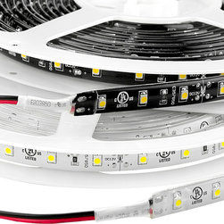 Weatherproof High Power LED Flexible Light Strip - WFLS-x - WFLS-x series weatherproof flexible LED light strip with 1-chip 3528SMD LEDs.  Available in 5 meter (197 in), 1 meter (39 in) and 1/2 meter (19.5 in) lengths with copper, black, or white finish.  Weatherproof flexible light strips with adhesive backing, can be cut into 3-LED segments.  12VDC operation. Available in High Density version