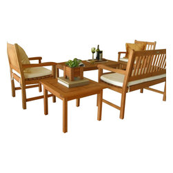International Home Miami - Amazonia BT Milano Seating 5-Piece Patio Set - Great Quality, elegant design patio set, made of solid eucalyptus wood. FSC (Forest Stewardship Council) certified. Enjoy your patio with style with these great sets from our Amazonia outdoor collection