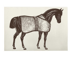 """Thomas Paul - Thoroughbred Horse Bath Mat - The Thomas Paul Thoroughbred Horse bath mat features a hand screened print on 100% cotton. The bath mat features a beautiful, brown horse complete with saddle. Historically, horses have represented freedom. The bath mat measures 36"""" x 24"""". The bold print adds a pop of character to your bathroom.   About the Artist: After graduating from NYC's famed FIT, Thomas Paul started his career as a colorist and designer at a silk mill. Eventually, he leveraged his knowledge of silk materials & print to launch a neckwear line of his own. Over time, Paul loved the idea of applying menswear print and design into a collection of home decor, which is what we see in his goods today. His background has embedded in him a passion for quality production techniques. Even as his brand grows, he continues to ensure all of his prints are hand screened - a slow, detailed process that results in each piece being a unique piece of artwork. Paul also pushes the envelope in terms of bold prints and hand ground materials.       """"My vision for the thomaspaul brand has always been about combining classic design motifs from different periods in textile design. Incorporating anything from an 18th century Damask pattern to a camouflage print. The unifying thread between so many different styles is to change the designs so they are updated for today. For me this means changing the scale, so they are always bold, and reducing down the colors and details, so most designs are reduced to two or three colors and become very flat, bold prints. I am always looking to vintage fabrics and motifs for inspiration and new ideas, but always try to update these to look good for today."""" - Thomas Paul   Product Details:"""
