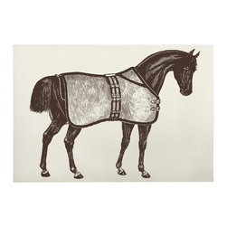 "Thomas Paul - Thoroughbred Horse Bath Mat - The Thomas Paul Thoroughbred Horse bath mat features a hand screened print on 100% cotton. The bath mat features a beautiful, brown horse complete with saddle. Historically, horses have represented freedom. The bath mat measures 36"" x 24"". The bold print adds a pop of character to your bathroom.   About the Artist: After graduating from NYC's famed FIT, Thomas Paul started his career as a colorist and designer at a silk mill. Eventually, he leveraged his knowledge of silk materials & print to launch a neckwear line of his own. Over time, Paul loved the idea of applying menswear print and design into a collection of home decor, which is what we see in his goods today. His background has embedded in him a passion for quality production techniques. Even as his brand grows, he continues to ensure all of his prints are hand screened - a slow, detailed process that results in each piece being a unique piece of artwork. Paul also pushes the envelope in terms of bold prints and hand ground materials.       ""My vision for the thomaspaul brand has always been about combining classic design motifs from different periods in textile design. Incorporating anything from an 18th century Damask pattern to a camouflage print. The unifying thread between so many different styles is to change the designs so they are updated for today. For me this means changing the scale, so they are always bold, and reducing down the colors and details, so most designs are reduced to two or three colors and become very flat, bold prints. I am always looking to vintage fabrics and motifs for inspiration and new ideas, but always try to update these to look good for today."" - Thomas Paul   Product Details:"