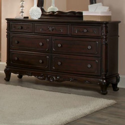 Homelegance - Homelegance Cinderella 7 Drawer Dresser in Dark Cherry - The Cinderella Collection is your little girl s dream. The Victorian styling incorporates floral motif hardware  dark cherry finish and traditional carving details that will create the feeling of a room worth of a fairy tale princess.