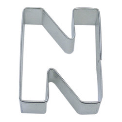 "RM - Letter N 3 In.  Aln - Letter N cookie cutter, made of sturdy tin, Size 3"" tall, Depth 7/8"", color: silver"