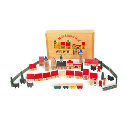 IC Design - IC Design Mein Kleines Dorf (My Little Town) - This 46 piece set of My Little Village (Mein Kleines Dorf) Wooden Blocks will provide children with hours of fun and is supplied in a solid wooden box for safe keeping.  Manufactured by Goki.