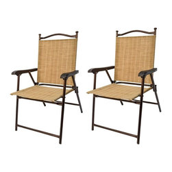 Greendale Home Fashions - Greendale Home Fashions Sling Back Outdoor Chairs - Set of 2 - CHR-2250 - Shop for Chairs and Sofas from Hayneedle.com! Creating a warm retreat for two is as easy as unfolding this Greendale Home Fashions Sling Back Outdoor Chairs - Set of 2 on your front porch or poolside patio. Crafted with a durable steel tube frame with foot rests and an arched back detail each of these two chairs is finished with contoured high-tensile plastic arm rests and UV-resistant Textilene sling fabric seats and backs in a neutral bamboo shade. Fold the set flat for quick convenient storage.About Greendale Home FashionsGreendale Home Fashions began operations in 1954 as a decorative products manufacturer offering sewing curtains cushions and pillows during the height of the department store era. Over the next 30 years they expanded their offerings by moving into interior and exterior home fashions. Quality and comfort have been touchstones for Greendale Home Fashions since the very beginning and those standards are still evident today as they strive to provide the most plush and comfortable cushions on the market. In 2006 on the success of their cushions Greendale Home Fashions extended their comfort and quality to their four-legged customers by expanding into the production of economy pet beds and supplies. As a small US business Greendale Home Fashions is proud to bring the best in design and construction to their customers and their pets.