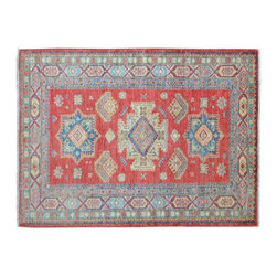 4'X6' Oriental Rug, Geometric Design Hand Knotted 100% Wool Red Kazak Rug SH9332 - This collections consists of well known classical southwestern designs like Kazaks, Serapis, Herizs, Mamluks, Kilims, and Bokaras. These tribal motifs are very popular down in the South and especially out west.