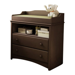 "South Shore - South Shore Furniture Angel Changing Table in Espresso Finish - South Shore - Baby Changing Tables - 3559331 - The South Shore Furniture Angel Changing Table offers total safety thanks toits rounded contours and front panel. It also has an open storage compartmentideal for keeping your essentials close at hand. Its two drawers fitted withattractive wood handles feature the """"Smart Glide"""" system withintegrated safety catch and soft-closing mechanism to prevent accidents. Thechanging table has been designed to match most espresso finish cribs on themarket today. Distinctly traditional in style the South Shore Furniture AngelChanging Table is sure to fit comfortably in your little one's room.Ensure your baby's safety with the practical and fashionable South ShoreFurniture Angel Collection. Each designed to offer maximum security while reflectingthe latest styling that allow you to keep baby's room neat and organized."