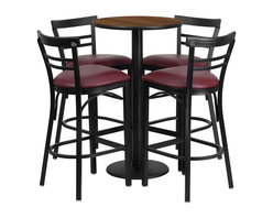 Flash Furniture - Flash Furniture Restaurant Furniture Table and Chairs X-GG-0401BRSR - 24'' Round Walnut Laminate Table Set with 4 Ladder Back Metal Bar Stools - Burgundy Vinyl Seat [RSRB1040-GG]