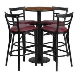 Flash Furniture - Flash Furniture Restaurant Furniture Table and Chairs X-GG-0401BRSR - 24'' Round Walnut Laminate Table Set with 4 Ladder Back Metal Bar Stools - Burgundy Vinyl Seat [RSRB1040-GG]