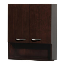 Wyndham Collection - Maria Wall-Mounted Bathroom Storage Cabinet in Espresso with 3 Shelves - The Maria wall cabinet is a great way to add a little storage space to your bathroom oasis. This ergonomic and elegant wall cabinet is designed to be placed over the toilet or used as extra wall storage just where you need it most. Soft-close doors ensure peace and quiet in your bathroom oasis, and brushed chrome hardware accents complete the look and compliment any modern bathroom setting.