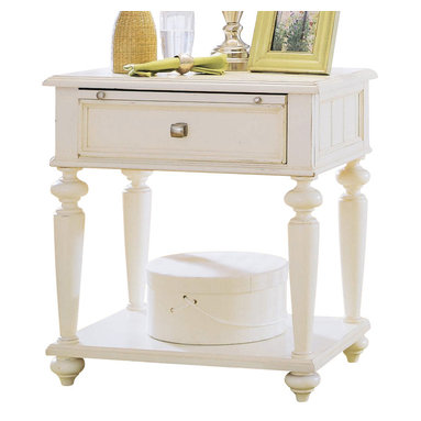 American Drew - American Drew Camden-Light Leg Nightstand in White Painted - The Camden-Light collection melds simple forms with quiet traditional references, gentle curves and a beautiful time worn ivory finish that lets the character of the wood show through. The brushed nickel finish hardware adds even more character to the Camden collection. This line will work great in your renovated farm house or a smaller beach cottage get-away.