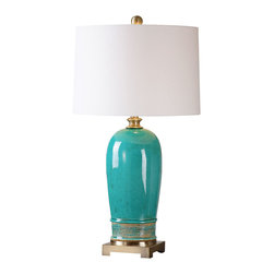 Billy Moon - Billy Moon Albertus Crackle Blue Transitional Table Lamp X-94162 - Ceramic base finished in a crackle blue glaze with a rust glaze and plated brushed antiqued gold details. The slightly tapered round hardback shade is a white linen fabric with light natural slubbing. Due to the nature of fired glazes on ceramic lamps, finishes will vary slightly.