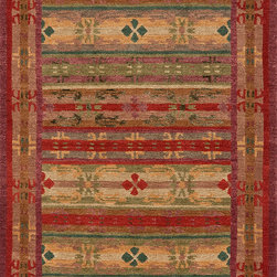 Tibetan Trellis (red with silk) - This 100-knot version of the Tibetan Trellis (this is a photo of a smaller rug) sparkles with gorgeous deep colors. These rugs distinguish themselves by their density and their lustrous wool and colors that truly sparkle. This one was handknotted in Nepal using long-staple, beautiful wool with silk highlights. May be custom-sized for a modest upcharge.