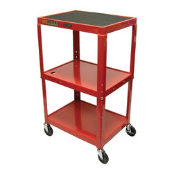Luxor Furniture - 18 in. Adjustable AV Cart w 3 Shelves in Red - Includes 4 in. swivel casters and safety mats. Two casters with locking brake. 3-outlets 15 ft. UL and CSA listed electrical assembly with cord plug snap. Roll formed shelves with powder coat paint finish. 0.25 in. lip around each shelf. Robotically welded and cables pass through holes. Made from steel. Made in USA. 24 in. L x 18 in. W x 24 - 42 in. H. Warranty