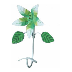 Renovators Supply - Hooks Wrought Iron Hook Multi Colored Lily - These Single Hooks are most popular in entryways for coats, on bathroom doors for towels and robes. Our exclusive RSF  coating protects this item for years to come. Clean up and get organized with a single hook or get several to hang side-by-side. They look fantastic in either a contemporary bathroom & kitchen or a Victorian hallway. Hand-forged wrought iron