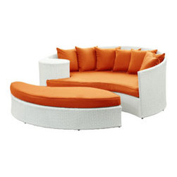 "LexMod - Taiji Outdoor Patio Daybed in White Orange - Taiji Outdoor Patio Daybed in White Orange - Harmonize inverse elements with this radically pleasing daybed set. Seven plush throw pillows adorn Taiji's thick all weather orange cushions allowing for the splendorous blending of mediating elements. Find the key to attainment as you bask in a charged and unified landscape of expansiveness. Set Includes: One - Taiji Outdoor Wicker Patio Daybed One - Taiji Outdoor Wicker Patio Ottoman Seven - Taiji Outdoor Wicker Patio Throw Pillows Synthetic Rattan Weave, Powder Coated Aluminum Frame, Water & UV Resistant, Machine Washable Cushion Covers, Ships Pre-Assembled Overall Product Dimensions: 71""L x 79""W x 29""H Daybed Dimensions: 71""L x 51""W x 29""H Ottoman Dimensions: 59""L x 28""W x 10""H Seat Height: 10""HBACKrest Height: 29""H - Mid Century Modern Furniture."