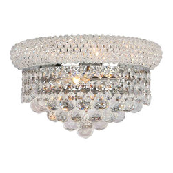 "Worldwide Lighting - Empire 2 Light Chrome Finish Crystal 12"" W Wall Sconce Light Medium - This stunning 2-light wall sconce only uses the best quality material and workmanship ensuring a beautiful heirloom quality piece. Featuring a radiant chrome finish and finely cut premium grade crystals with a lead content of 30%, this elegant wall sconce will give any room sparkle and glamour."