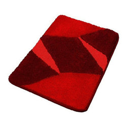 Red Luxury Non Slip Washable Bathroom Rugs, Small - This small modern red bathroom rug is washable and non-slip / non-skid. Made from soft polyacrylic yarn which is warm, absorbent and dries quickly. High quality densely woven red bath rug which is durable, mold and mildew resistant. Machine wash warm, fluff dry in dryer. Made in Germany.