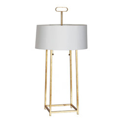 """Worlds Away - Worlds Away Iron Lamp in Gold Leaf MONDO G - Gold leaf iron lamp with pull chain. 16.5"""" dia chocolate shade with gold foil lining. Ul approved for two 60 watt bulbs."""