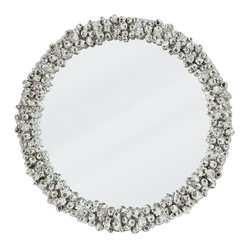 Kathy Kuo Home - Navarre Coastal Beach Silver Barnacle Round Mirror - Barnacles make for an unlikely centerpiece on this showstopping mirror. In a silvery finish, they glitter with appealing organic shapes around the rim. Hang this mirror in your beachy bathroom, or as a focal point in your entryway. Either way, this gorgeous mirror will stand out.