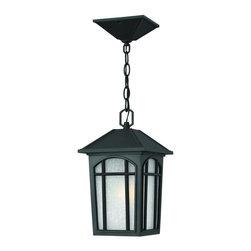 Hinkley Lighting - 1982BK Cedar Hill Dark Sky Outdoor Hanging Lantern, Black, White Linen Glass - Transitional Outdoor Hanging Lantern in Black with White Linen glass from the Cedar Hill Collection by Hinkley Lighting.