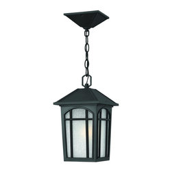 Hinkley Lighting - 1982BK Cedar Hill Dark Sky Outdoor Hanging Lantern, Black, White Linen Glass - Transitional Outdoor Hanging Lantern in Black with White Linen glass from the Cedar Hill Collection by Hinkley Lighting.