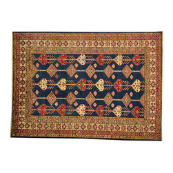 Navy Super Kazak Tribal Design 6'x8' Hand Knotted 100% Wool Oriental Rug SH16513 - This collections consists of well known classical southwestern designs like Kazaks, Serapis, Herizs, Mamluks, Kilims, and Bokaras. These tribal motifs are very popular down in the South and especially out west.