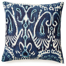 One Kings Lane - Ready Your Rooms - Tribal 18x18 Cotton Pillow, Blue