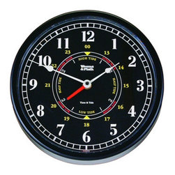 """Weems & Plath Trident Tide and Time Clock - This beautiful Tide and Time Clock has a 10.25"""" dial, a 10.50"""" base and is 2.75"""" deep. This clock exhibits precise quartz movement and tide clock movement which averages the lunar tide cycle. It uses a AA battery and weighs 17 oz. The tide sector is calibrated for the east coast of the United States. It features a black dial with easy to read bold white lettering and is housed in a black case with acrylic crystal."""