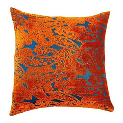 Square Feathers - Blanco Pillow, Orange Paisley Pillow - This unique paisley design pops due to its excellent contrast in colors. The bright and exuberant boteh almost seems to float on a sea of blue.