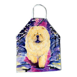 Caroline's Treasures - Chow Chow Apron SS1005APRON - Apron, Bib Style, 27 in H x 31 in W; 100 percent  Ultra Spun Poly, White, braided nylon tie straps, sewn cloth neckband. These bib style aprons are not just for cooking - they are also great for cleaning, gardening, art projects, and other activities, too!
