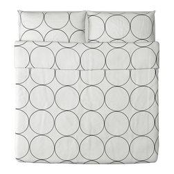IKEA of Sweden - TVÅBLAD CIRKEL Duvet cover and pillowcase(s) - Duvet cover and pillowcase(s), white, black