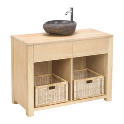 Sterling Industries - Elegance Cabinet in Light Natural Wood Tone - This complete sink unit is made from solid mindi wood. Finished in a light natural wood tone finish. It has 1 drawer at the front for handy storage a natural stone basin and a chrome mixer tap is included. Matching mirror, shelves are available.