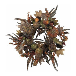 Nearly Natural - 28 Inch Autumn Pumpkin Wreath - Want something a little different this holiday season? Look no further than this incredible 28 Autumn Pumpkin Wreath. With its brushed gold look accenting the dark rich colors of the (faux) leaves and fruit, this wreath perfectly captures a look of Autumn that sometimes goes unnoticed. Ideal for decor that calls for something a little less bright , this wreath will retain its beauty for years to come.