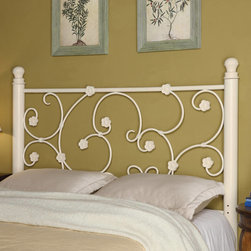 Coaster - Transitional Queen / Full Size Headboard in White - Featuring a custom white appearance, an elegant vine pattern hinted with flower accents. Able to fit a full or queen size bed frame, this sleek white headboard is a smart addition to your home.