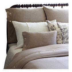 Taylor Linens - Farmhouse Stripe King Duvet Cover - Pinstripes never go out of style, and neither will this handsome duvet cover. The sophisticated brown and cream palette coordinates easily with other patterns and colors, while the machine-washable cotton ensures years of easy care. Button closures are a fun finishing touch.
