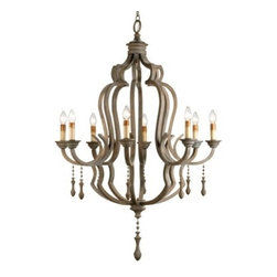 Weather Wood Chandelier - Gray Up Chandelier by Currey and Company.  Item #9010 Weathered wood with classic lines.  This chandelier is for the contemporary traditionalist.