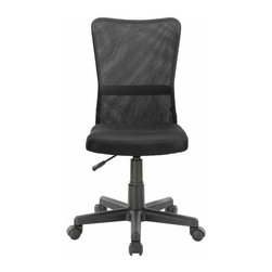 Modway - Comfort Office Chair in Black - Stay climate-neutral all day long with a supportive breathable mesh back and padded fabric seat. The ergonomically designed chair is the height of comfort coupled with ultra modern design.