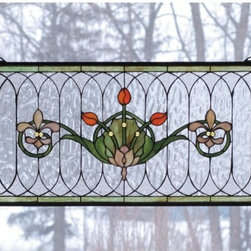 """Meyda Tiffany - Meyda Tiffany 68019 Stained Glass Tiffany Window Arts & Crafts Collecti - 26"""" W X 14"""" H Tulip & Fleurs WindowSpring Green Leaves And Borders, Lively Coral Tulips And Plum Beige Fleur-De-Lis, Accent The Rippling Textured Clear GlassIncludes Mounting Brackets and Chains"""