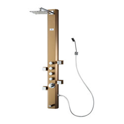 Fresca - Fresca Prato Stainless Steel (Brushed Bronze) Thermostatic Shower Massage Panel - A shower panel can really take your morning cleaning routine to the next level. Instead of just a basic shower head you get four different water outputs: a large shower head that creates a rainfall effect, a handheld showerhead for mobility and hard to reach places, 4 swiveling massage water jets and a tub filling water spout on the bottom. The panel has four knobs that control each function, and a master knob that controls water pressure and temperature. The fixtures are all made from brass with a chrome finish, and the unit is made from stainless steel.