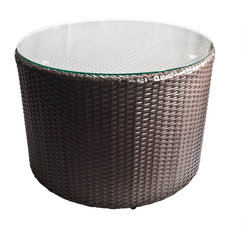 Dola - Outdoor Wicker Round Coffee Table With Glass Top, Tall Round Table - Serve cocktails and appetizers outdoors with this round espresso brown wicker coffee table! It is the perfect accessory to your sectional or sofa set. Constructed of durable PE wicker, this versatile piece can be used as an accent table to enhance any outdoor space. The tempered glass top is easy to clean and helps protect from spills and crumbs getting caught in the wicker. No assembly required. The item comes with a 2 year warranty on the frame and 1 year on the resin wicker.