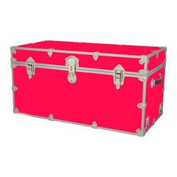 Artisans Domestic - Storage Toy Box in Pink (44 in. L x 24 in. W x 22 in. H (69 lbs.)) - Choose Size: 44 in. L x 24 in. W x 22 in. H (69 lbs.). Include small ventilation holes and specially designed, American made two soft-close lid supports. Retro style. Artisans domestic superior quality and heavy-duty. Handcrafted and kid friendly. Designed for a child's well-being. Lined with cabinet grade birch. Heavy gauge steel trim and corner pieces. Leather strap handles for moving easily. Hasp for padlock. Waterproof, dent and scratch resistant. Made from 1000 denier cordura sheathing, baltic birch and laminate. Made in USASafety First! yet looks handsome in any room. This treasure chest incorporates several safety features. They are even strong enough to stand on! Now that's a great toy box!