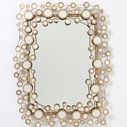 """Anthropologie - Circle Jig Mirror - Additional hanging hardware requiredIron, glass40.5""""H, 32""""W, 2""""DImported"""